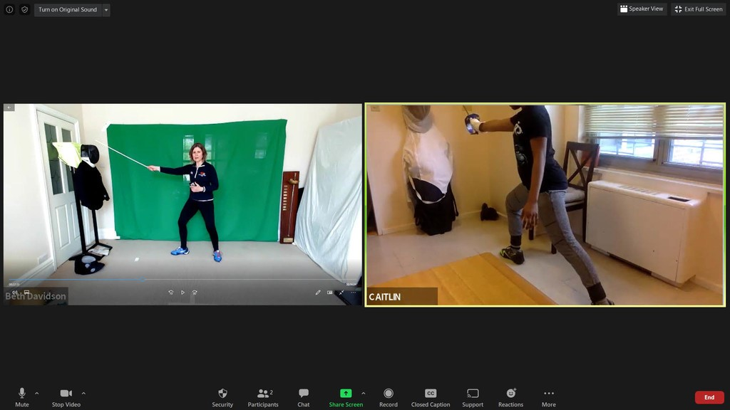 Beth teaching online fencing to people around the world