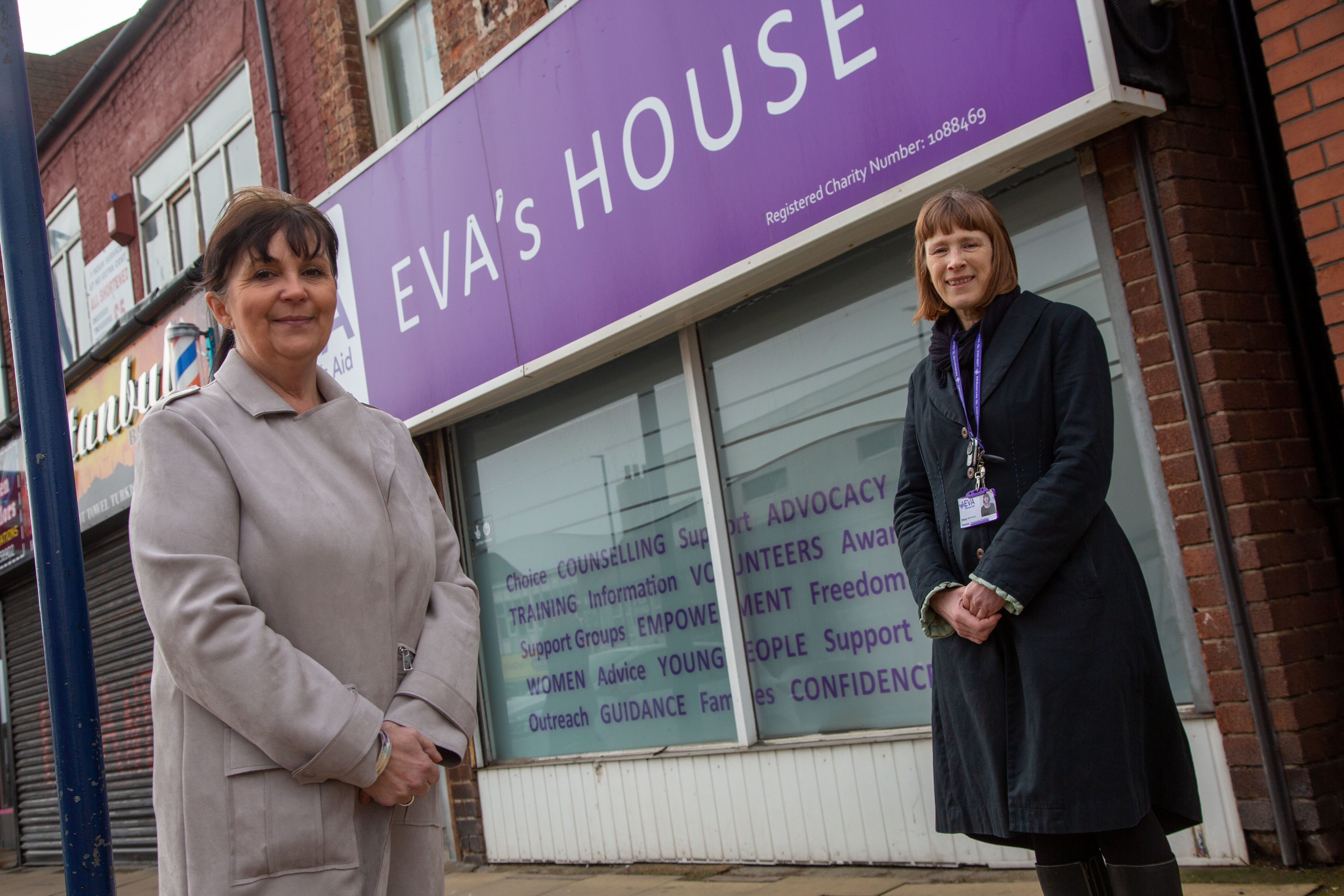 Gill Horner and Sarah Charlton standing outside Eve's House in Redcar