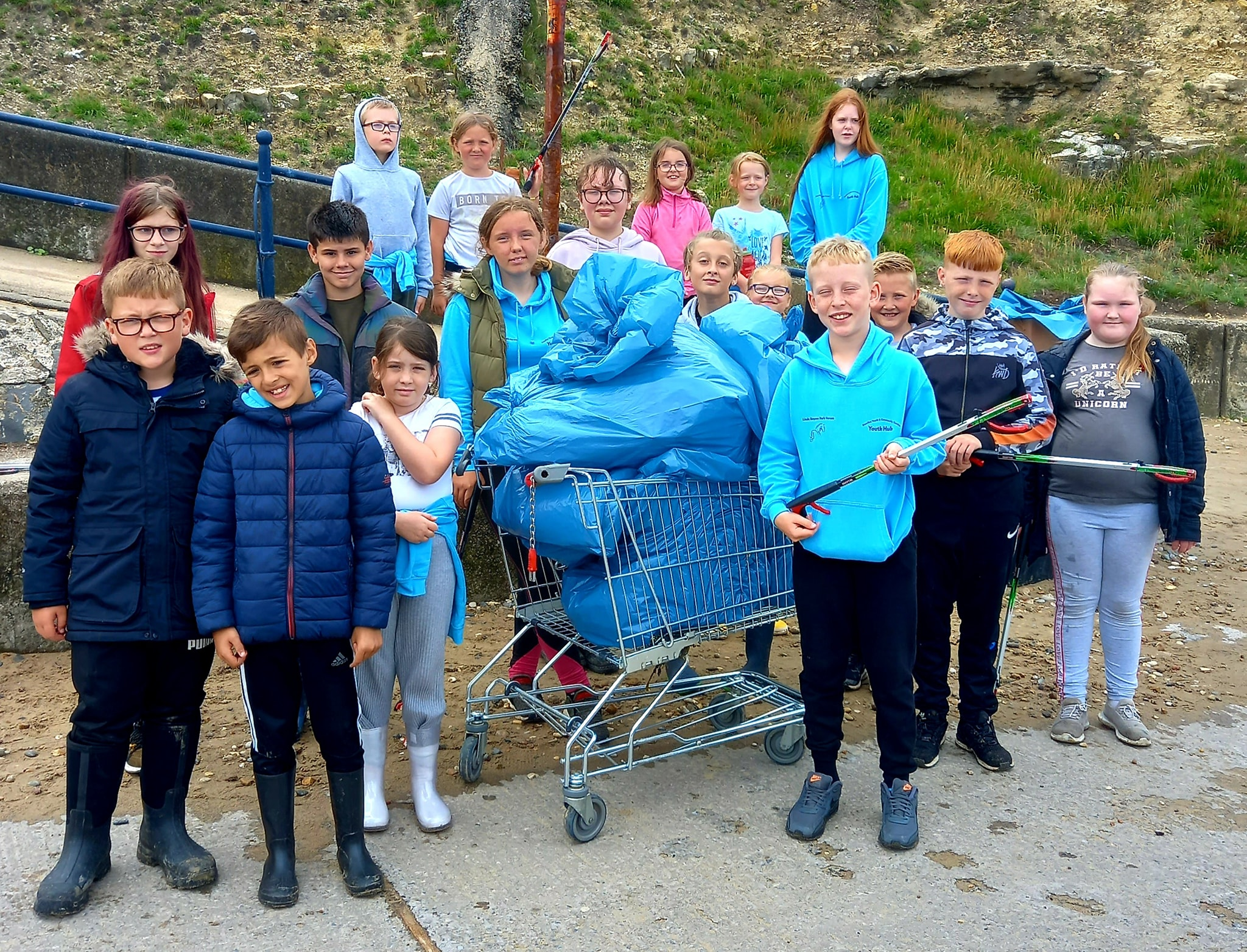 Young people take part in a Seaham beach clean-up